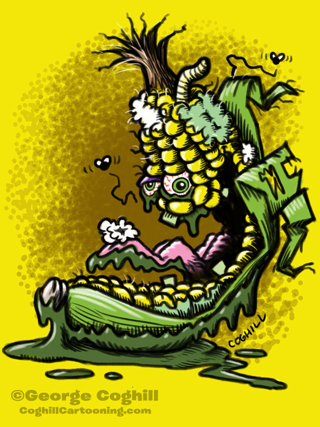 Cracked Corn Lowbrow Food Vegetable Cartoon Character Sketch Coghill