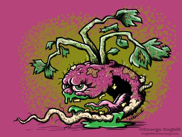 Trashed Turnip Food Vegetable Lowbrow Cartoon Character Sketch