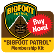 Cartoon illustration Bigfoot Patrol embroidered patch, membership card, stickers, button