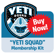Cartoon illustration Yeti Squad embroidered patch, membership card, stickers, button
