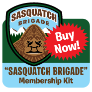 Cartoon illustration Sasquatch Brigade embroidered patch, membership card, stickers, button