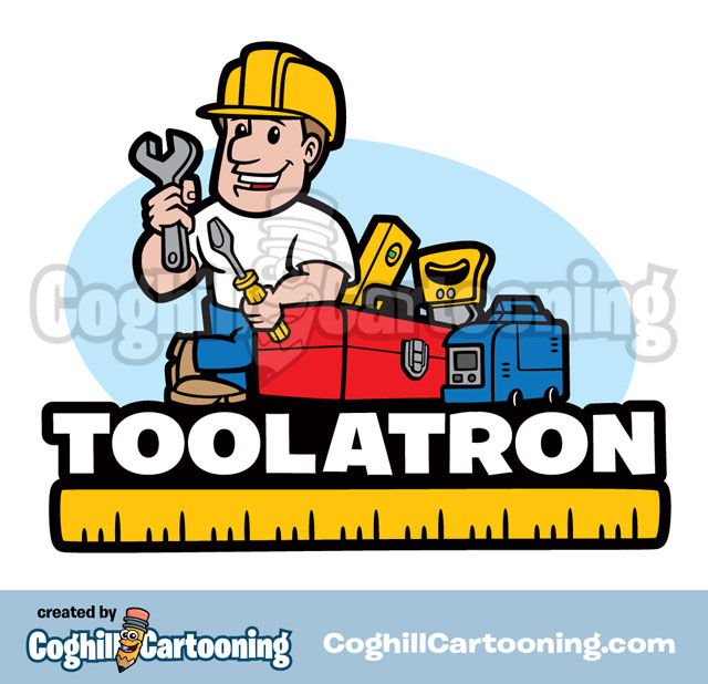 Construction Worker Tools Cartoon Logo Toolatron Coghill