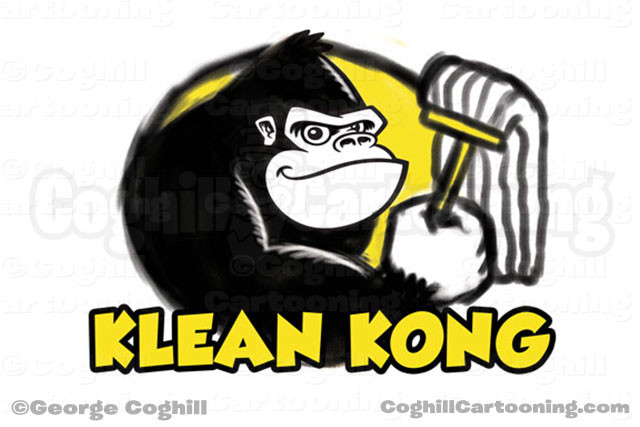Gorilla Cartoon Logo Sketch Mop Klean Kong Coghill