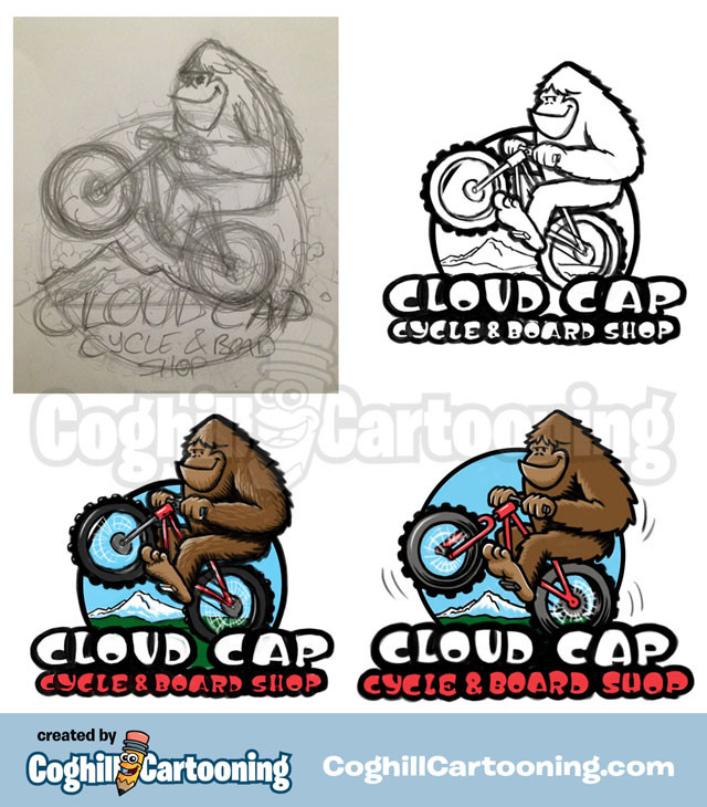 Sasquatch Bicycle Cartoon Logo Cloud Cap Cycle Board Sketch Progress