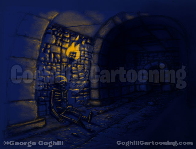 Skeleton Dungeon Drawing Halloween Limited Palette Coghill