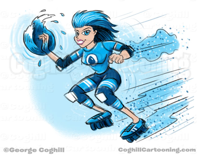 Roller Derby Girl Superhero Cartoon Character Concept Sketch Coghill