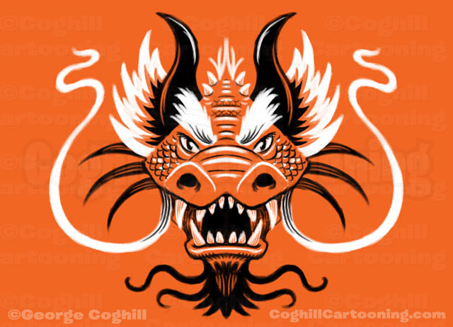 Dragon Head Limited Palette Drawing Coghill