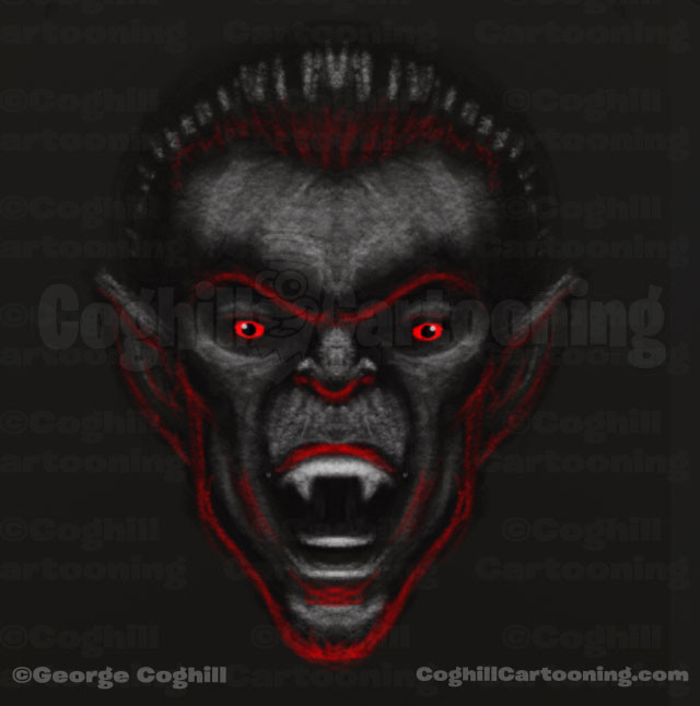 Vampire Dracula Limited Palette Monster Head Sketch Coghill