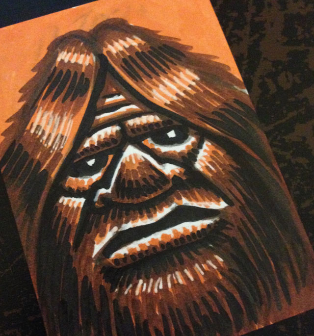 Bigfoot Sketch Card Art Coghill