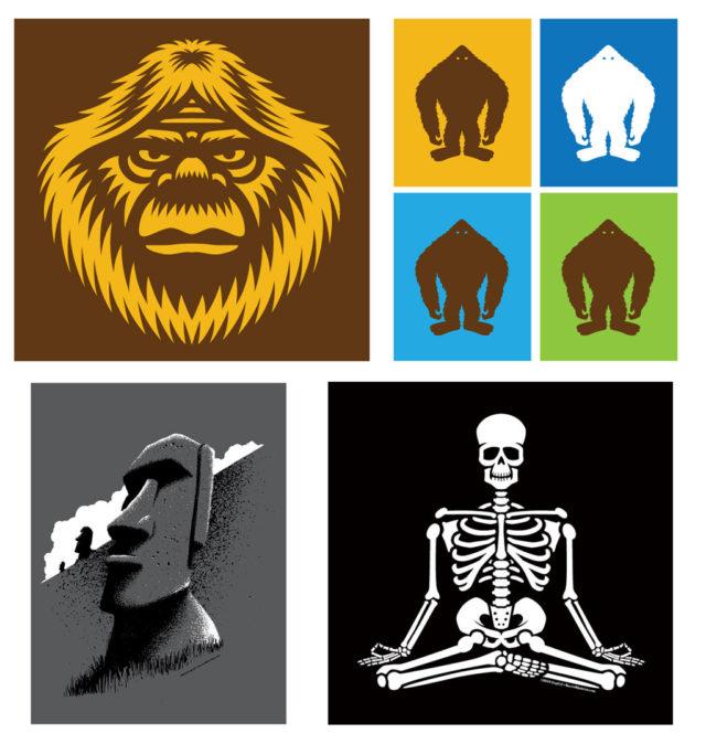 Meditating-Skeleton-Easter-Island-Bigfoot-head-silhouettes-t-shirts-4up