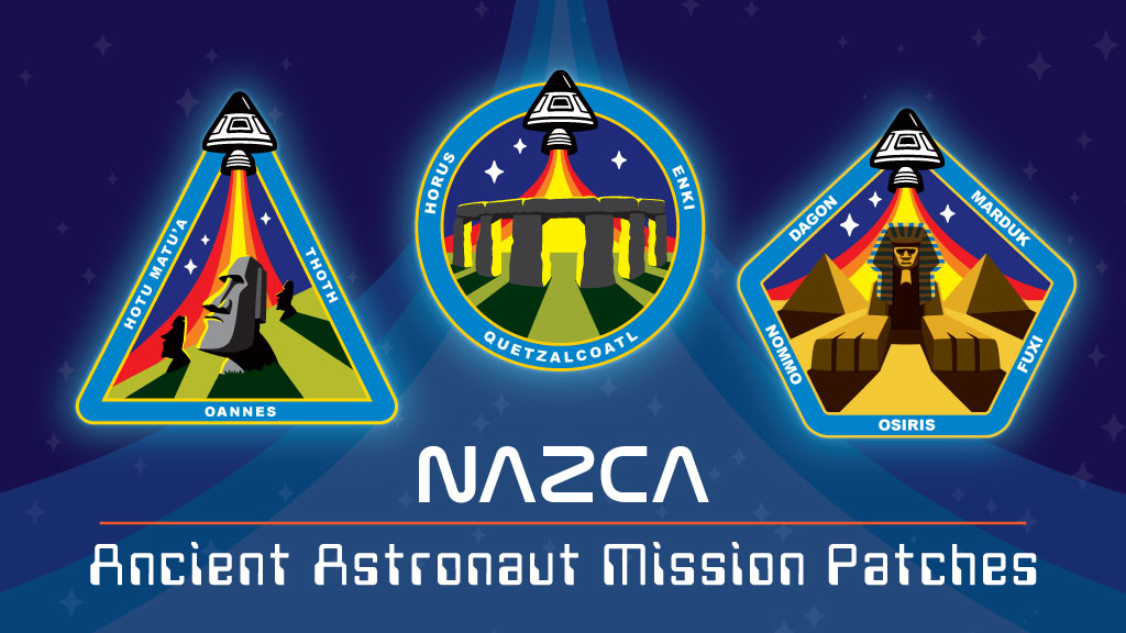 NAZCA-ancient astronaut mission patches Sphinx pyramids stonehenge easter island