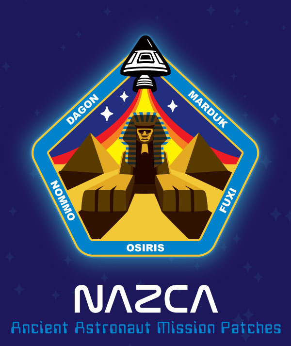 Nazca ancient astronaut mission patch Sphinx & pyramids Egypt