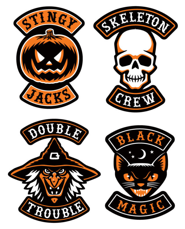 alloween biker patches pumpkin jack-o-lantern skull witch black cat