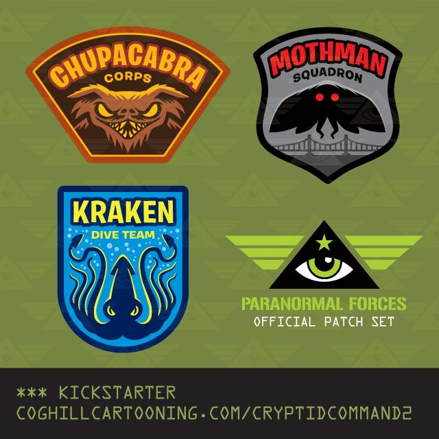 Cryptid Command 2 patches Mothman, Chupacabra & Kraken