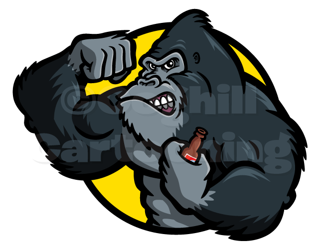 Gorilla Beer cartoon logo.