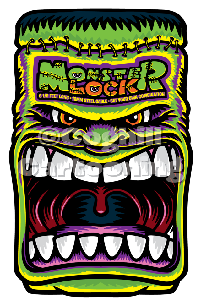 Monster Locks cartoon Frankenstein illustration