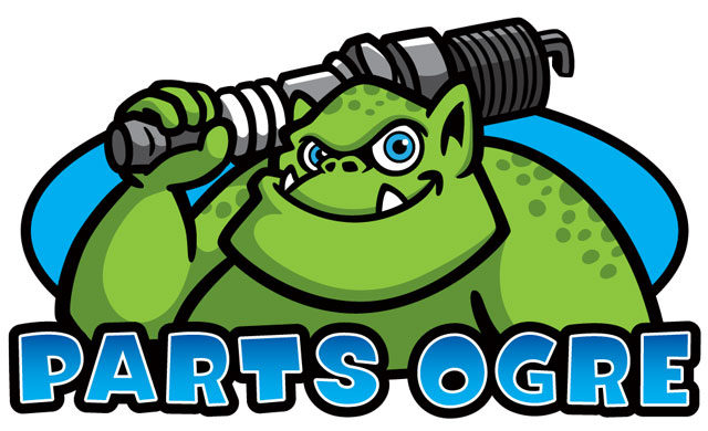 Parts Ogre monster spark plug cartoon logo.