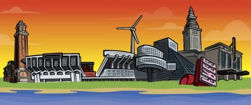 Cleveland Ohio skyline illustration for Positively Cleveland