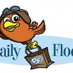 Daily Flock cartoon aviator bird character logo