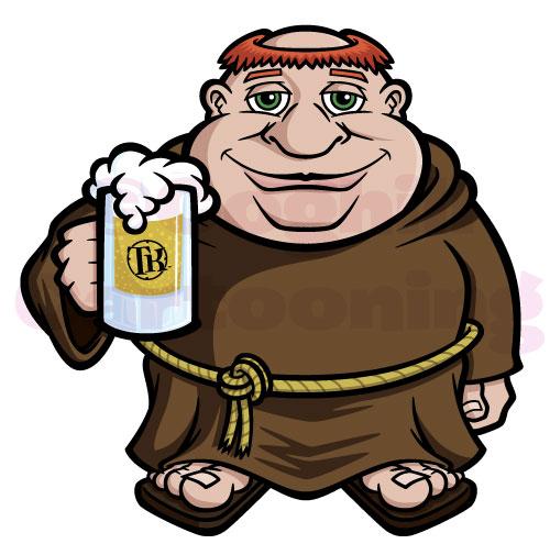 Monk cartoon character holding beer mug