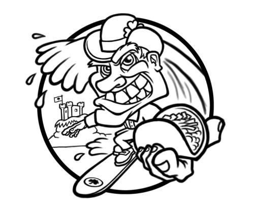 Cartoon leprechaun surfer character