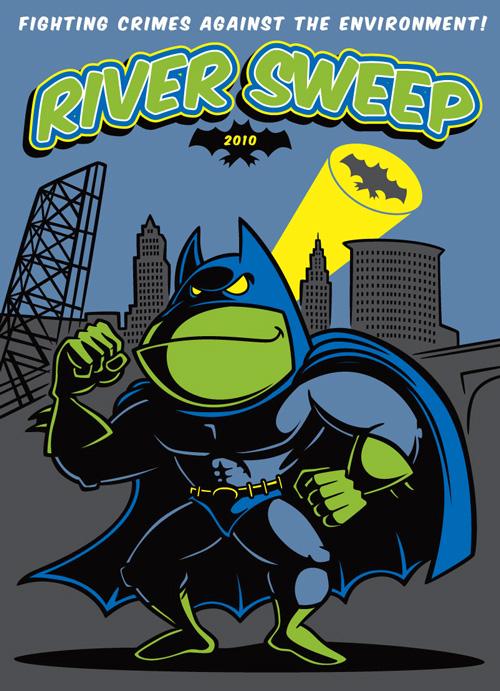 """Batfrog"" cartoon character illustration for River Sweep 2010"