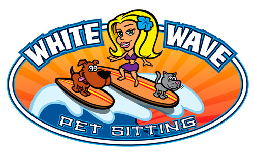 Cartoon logo with surfer girl character