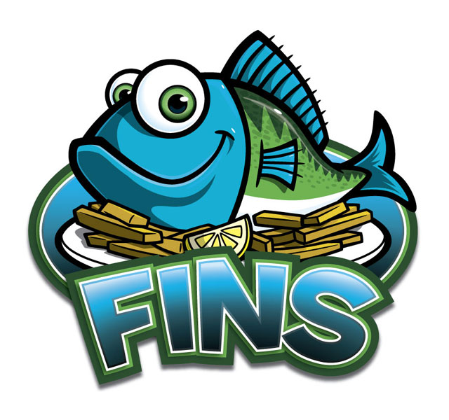 Cartoon fish character logo for Fins restaurant