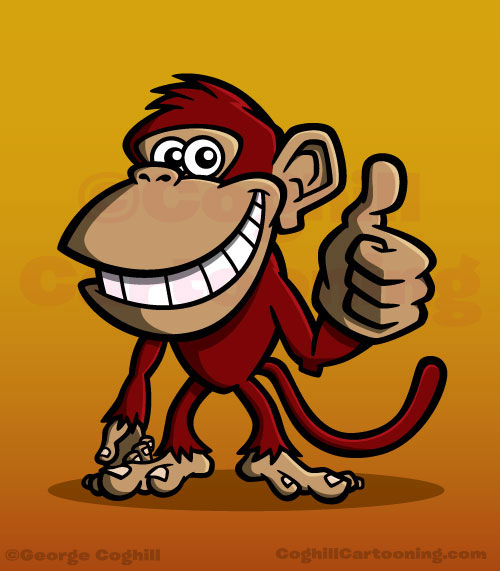 Monkey cartoon character mascot for Red Monkey Lounge