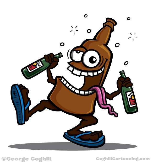 Drunk beer bottle cartoon character for Dear Drunk Me