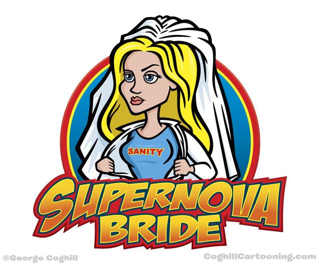 Superwoman superhero bride cartoon character logo