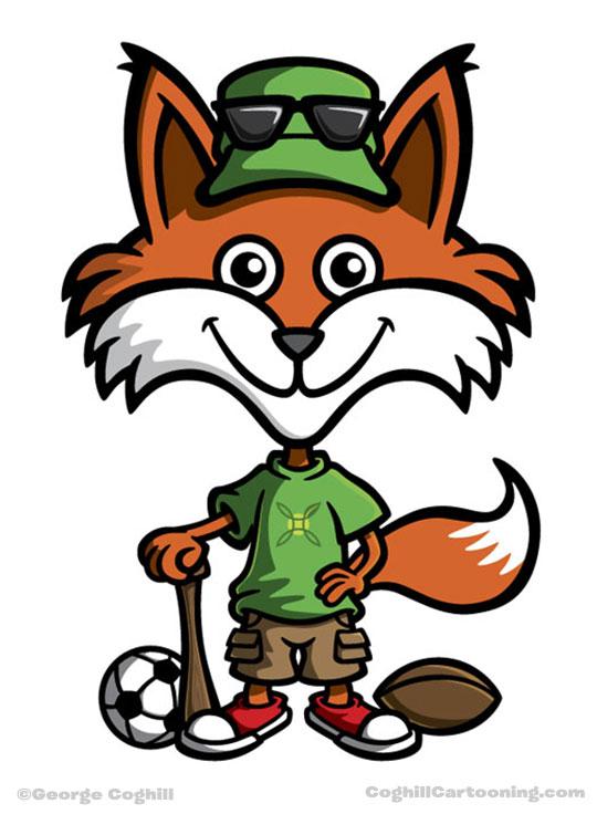 Fox cartoon character mascot for City of Green, Ohio