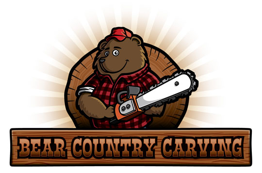 Cartoon bear character lumberjack with chainsaw logo