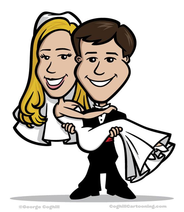 Bride & groom wedding cartoon characters portrait ilustration