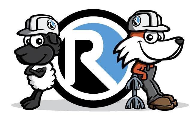 Fox & sheep cartoon characters with Reinhart Hydrocleaning logo