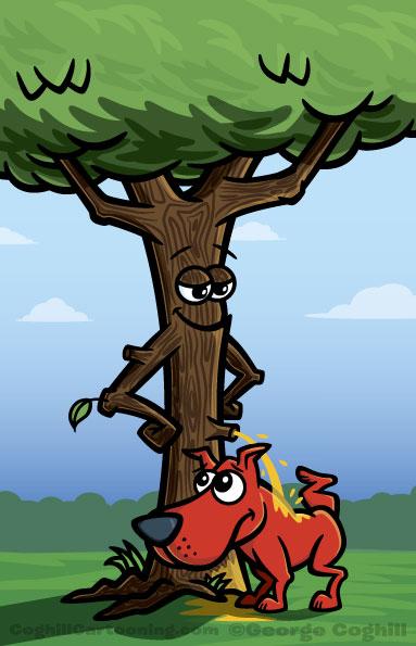 Tree peeing on a dog cartoon illustration