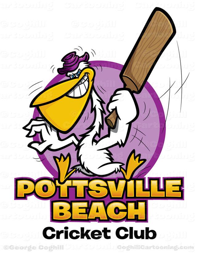 Cartoon pelican with cricket bat t-shirt art