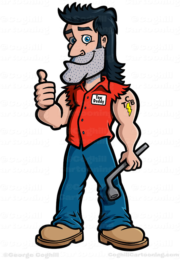 Tow Daddy hillbilly tow truck driver cartoon character art