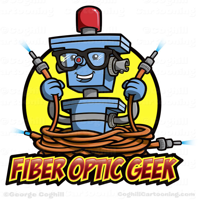 Cartoon robot character logo - Fiber Optic Geek by George Coghill