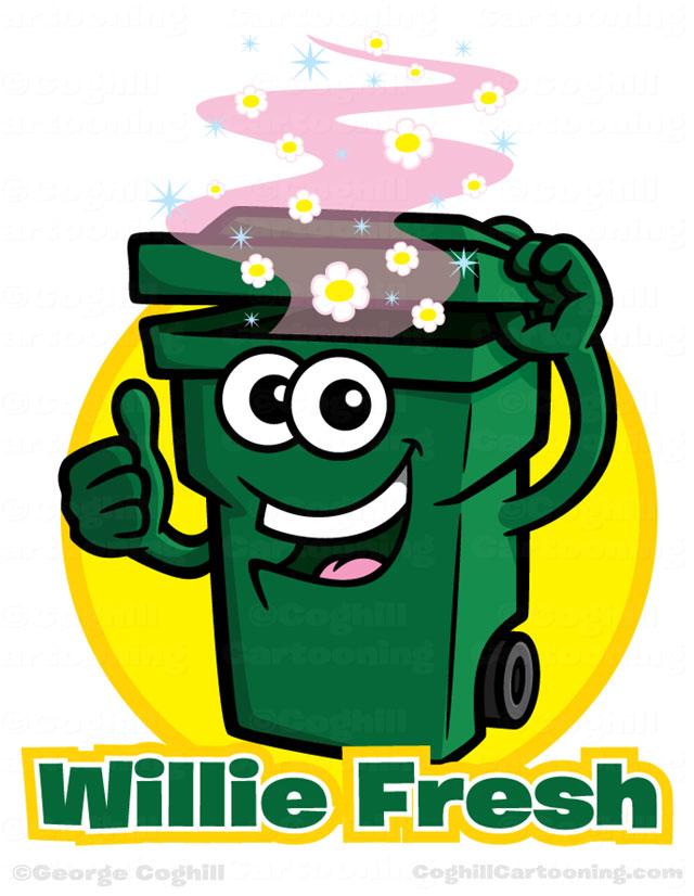 Garbage can cartoon logo & character - Wheelie Fresh