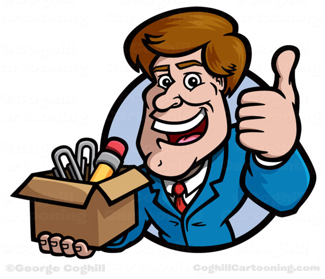 Salesman Cartoon Character Super Warehouse by George Coghill