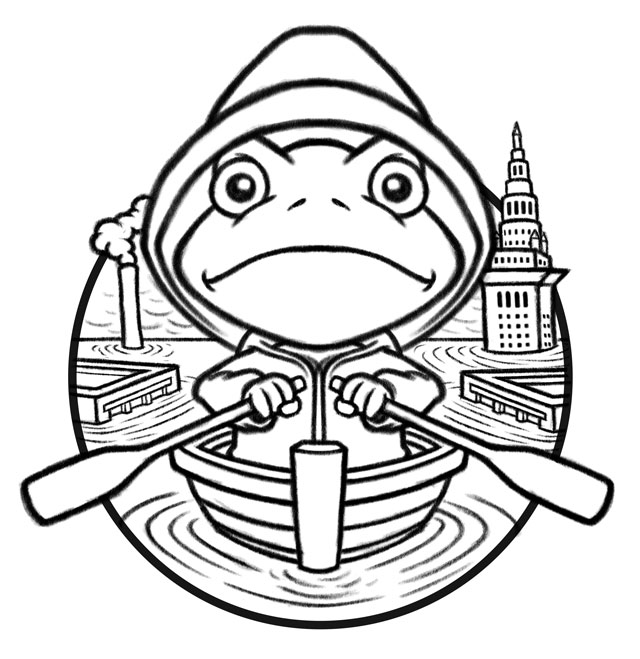 River Sweep 2013 Sketch - cartoon frog in rowboat, flooded Cleveland Ohio