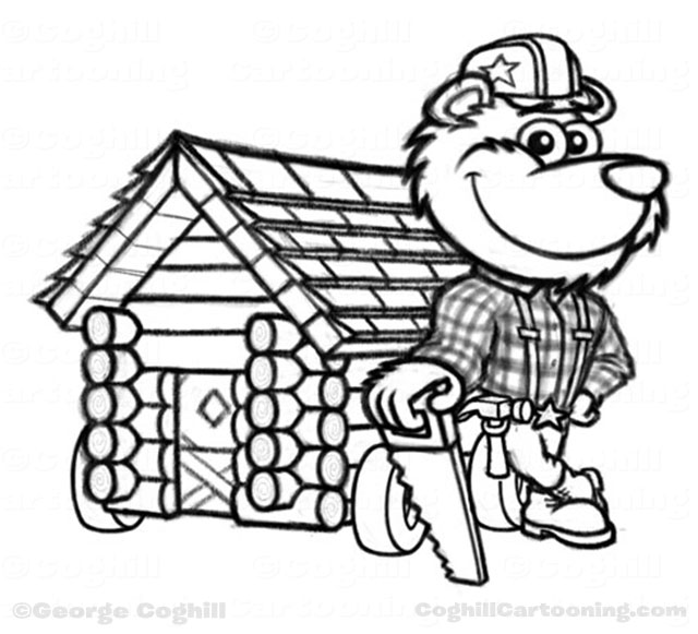 Lumberjack bear log cabin cartoon character sketch