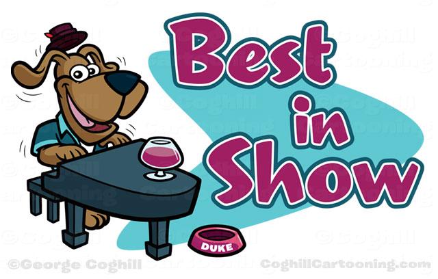 Jazz Piano Dog Cartoon Logo - Best In Show
