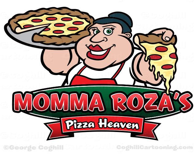 Pizza shop cartoon logo woman holding pie & slice for Momma Roza's Pizza Heaven