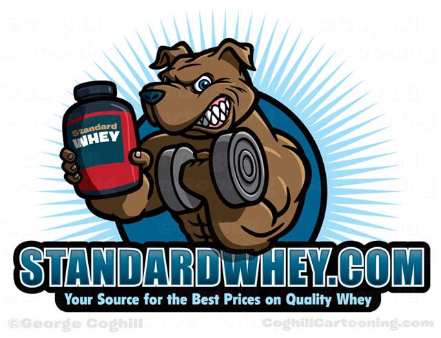 Weightlifter muscular dog cartoon logo