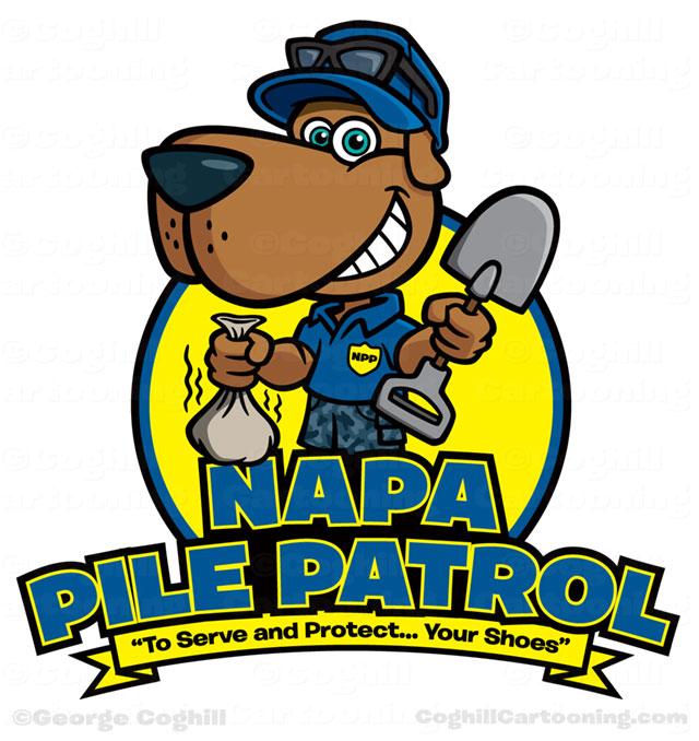 Napa Pile Control Pet Waste Removal Dog Cartoon Logo