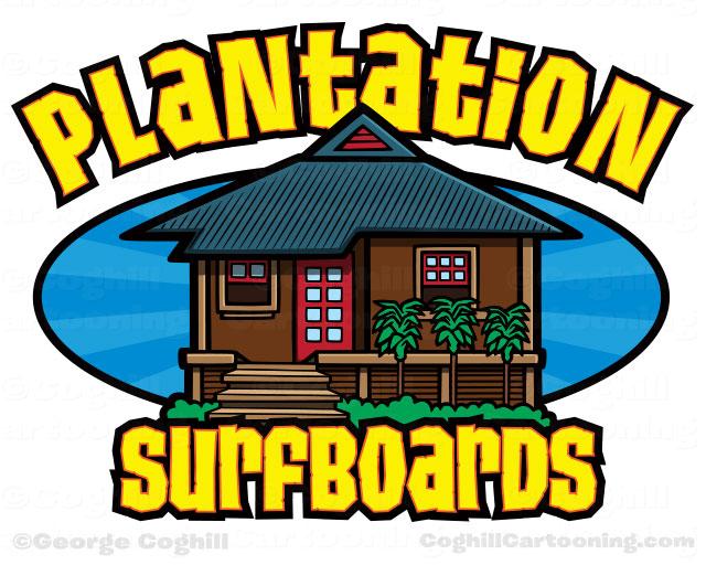 Plantation Surfboards Surf Shop Cartoon Logo