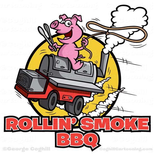 Pig riding BBQ smoker grill cartoon logo for Rollin' Smoke