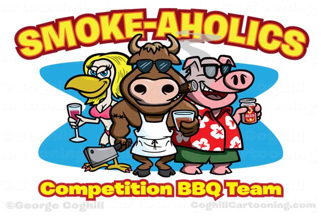 Bull Chicken Pig Cartoon Logo Smokeaholics BBQ